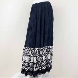 Double D Ranch Embroidered Fringe Maxi Skirt